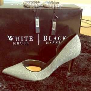 White House Black Market silver Athena high heel